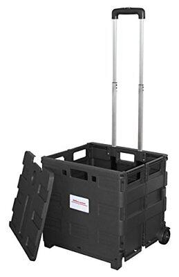 Office Supply Mobile Folding Utility Cart W Lid Wheels 16 X 18 X 15 - Black