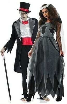 Couples Ladies and Mens Corpse Dead Bride & Groom Fancy Dress Costumes Outfits](Dead Bride And Groom Costumes)