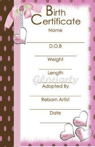 Reborn Birth Certificate Ebay