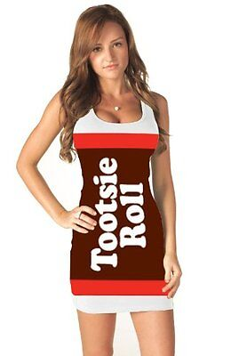 Tootsie Roll Candy White Costume Tank Dress - Tootsie Roll Dress