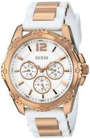 **NEW** GUESS White & Gold Tone  Ladies Watch