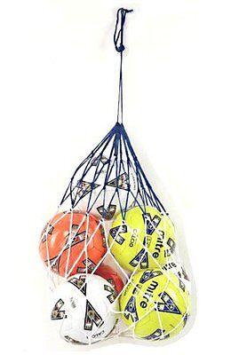 5 ballons football filet de transport aide entraînement nylon corde équipement