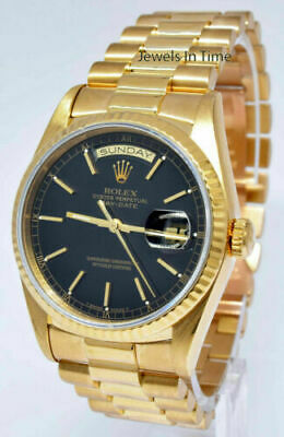 Rolex Day-Date President 18k Yellow Gold Black Dial Mens 36mm Watch L 18238