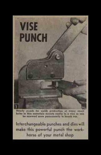Sheet Metal/Leather BENCH PUNCH 1953 How-To build PLANS powerful