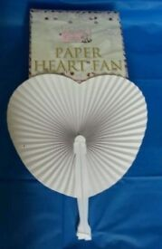40 x Paper Heart Folding Wedding Fans. Loot/Party bag fillers/Favours New