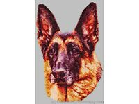 Large Embroidered Zippered Tote German Shepherd BT4475