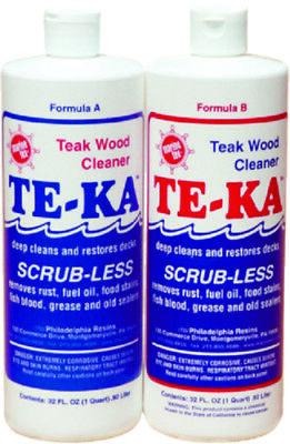 TE-KA TEAK WOOD CLEANER & RESTORER 1/2 GAL KIT 2 PART QTS FISH RUST STAINS
