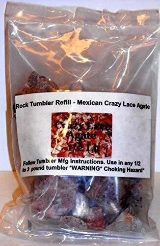 Rock Tumbler Gem Refill Kit Mexican Crazy Lace Agate Rough Mexico 8oz