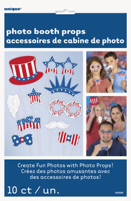 Patriotic 4th of July Photo Booth Props Fun with Red, White & Blue Set of 10](4th Of July Photo Booth Props)