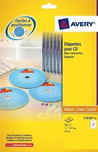 Avery L7676-25  Cd/Dvd Permanent Full Face 2 Labels Per Sheet 25 In Pack