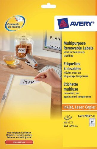 Avery  Laser Removable Labels 27 Per Sheet 25 Pack L4737 White New