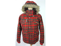 Gent's QUICKSILVER Red Tartan Hooded Sports Parka Coat (Snowboarding Winter) UK L