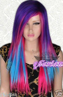 Sexy Lady girl Purple Red blue mixed Bright rainbow Cosplay party wigs / wig  - Rainbow Bright Wig