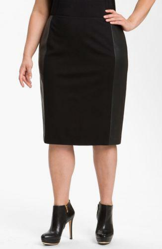 Plus Size Leather Skirt