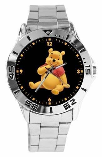 Winnie The Pooh Photo Stainless Steel Link Wristwatch Watch Quartz Analog NEW
