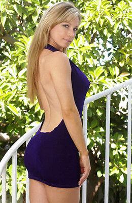 Sexy Purple Halter Slinky Cowl Neck Mini Dress/Made in usa/Adult/Stripper/s-m