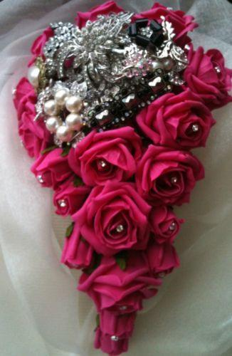 Bride brooch bouquet flowers petals garlands ebay for A lot of different flowers make a bouquet