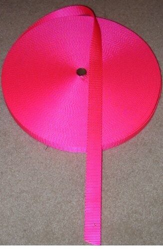 "50yards x 5/8"" Wide Nylon Webbing - Neon / Hot Pink"
