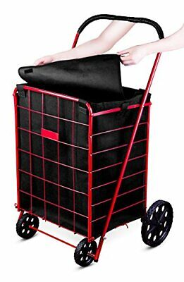 Folding Shopping Cart Liner Rolling Utility Trolley Wheels Basket Hood Bag Dark