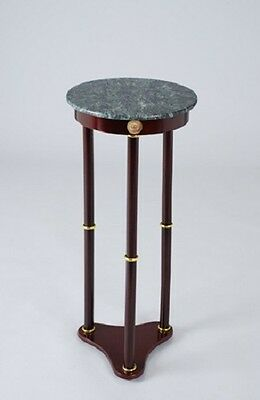 Base Plant Stand - Plant Stand Side Table, Green Marble Top and Cherry Finish Wood Base