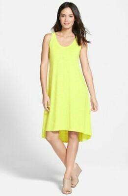 New Eileen Fisher Organic Cotton Hemp Twist Scoopneck Tank Dress Honeydew L