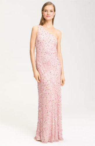 Adrianna Papell Beaded One Shoulder Gown Ebay