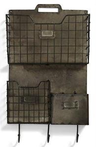 Rustic-Style-Metal-Combo-Wall-Pocket-Organizer-File-Folder-Holder-Magazine-Mail
