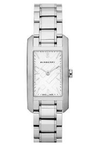 Burberry Check Stamped Rectangular Stainless Steel Watch/Silvert
