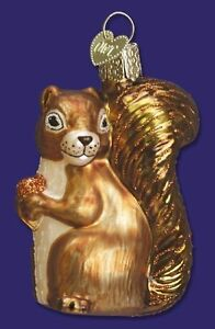 SQUIRREL OLD WORLD CHRISTMAS GLASS WILDLIFE ORNAMENT 12080