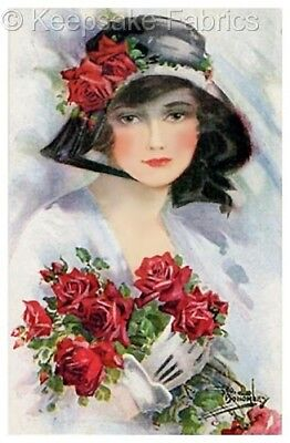 Lady In Black Hat Red Roses Quilt Block FrEE ShiPPinG WoRld WiDE c