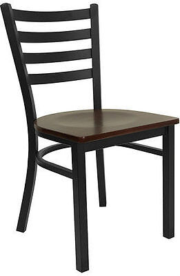 Black Ladder Back Metal Restaurant Chair With Mahogany Wood Seat