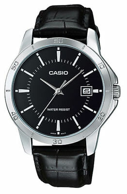 NEW Casio MTP-V004L-1A Men's Stainless Steel Watch BLACK Leather ANALOG Date