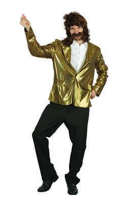 Mens Gold Quiz Show Host Jacket Fancy Dress Costume Outfit Prop Adult