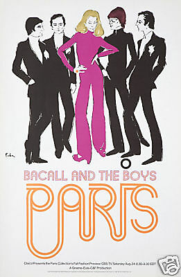 Original Vintage Poster Lauren Bacall Yves St Laurent Joe Eula Fashion Week 60s