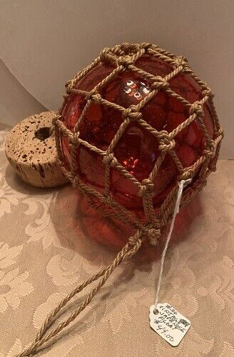"Antique Glass Float Ruby Red 4"" Nautical Buoy Japanese Hand Made Robed Cork"