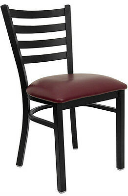 Black Ladder Back Metal Restaurant Chair With Burgundy Vinyl