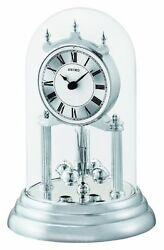 Seiko Anniversary Silver Tone Plastic Base Glass Dome Mantel Clock QHN006SLH