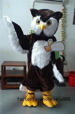 Halloween Professional Costumes (Big Brown Owl Mascot Costumes Adults Professional Fancy Cosplay Halloween)