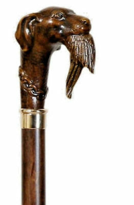 Hunting Dog with Duck Walking Stick Collector's Cane Animal Carved Knob Handle