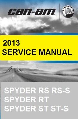 2013 Can-Am Spyder RS RT ST series motorcycle service manual on CD CanAm