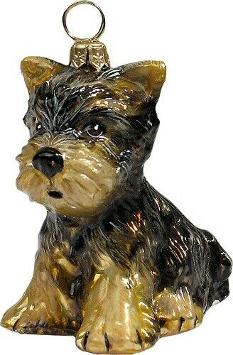 Yorkshire Terrier Yorkie Puppy Dog Polish Blown Glass Christmas Ornament
