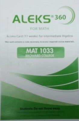 Aleks 360 For Math Student Access Code Green 11 Weeks Mat1033 Broward College