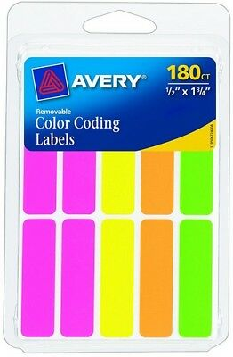 Avery Removable Color Coding Labels Rectangular 1/2 x 1-3/4 Assort Neon 180pk](Colored Labels)