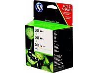 5 x HP 301 original printer cartridges 3 black + 2 tri-colour