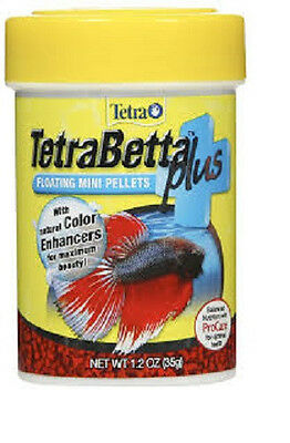 TETRA BETTA PLUS MINI FLOATING PELLETS 1.2 OZ FISH FOOD. FREE SHIP TO THE USA