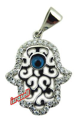 925 Sterling Silver Hamsa & Evil Eye Pendant - Protection Luck - Hand of God