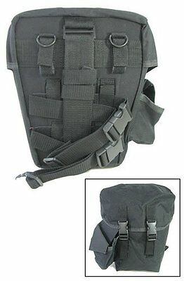 Tactical Gas Mask Carrier Drop Leg Pouch (Respirators Carry Bag) Black BRAND NEW