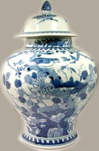 """Antique Porcelain Blue + White """"Ming Style"""" Jar Birds Butterfly Tree 19thC China"""