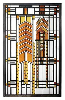 "Frank Lloyd Wright ""AUTUMN SUMAC"" DANA THOMAS HOUSE Stained Art Glass Panel"