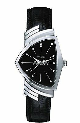Hamilton Ventura Black Dial S. Steel Leather Quartz Men's Watch H24211732